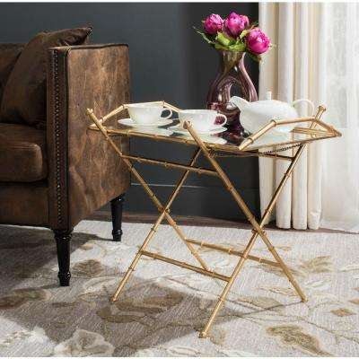 Misae Antique Gold Leaf Tray Side Table