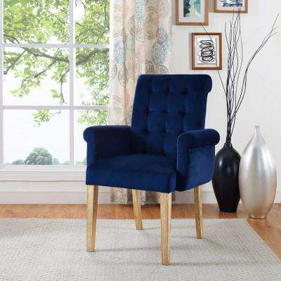 Premise Velvet Armchair In Navy