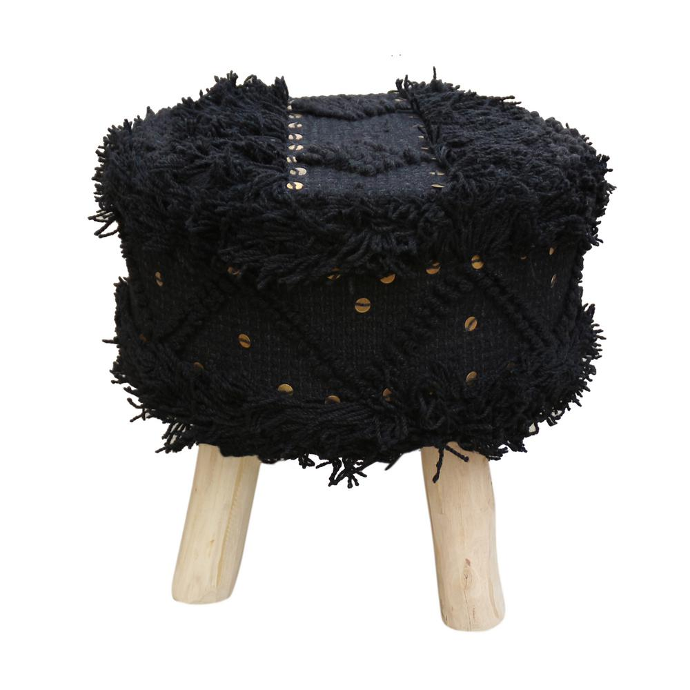 Pleasant Noble House Roja Boho 16 25 In Black Wool And Cotton Stool Pdpeps Interior Chair Design Pdpepsorg