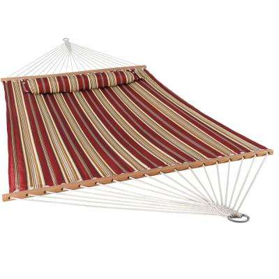 11-3/4 ft. Quilted Double Fabric 2-Person Hammock in Red Stripe