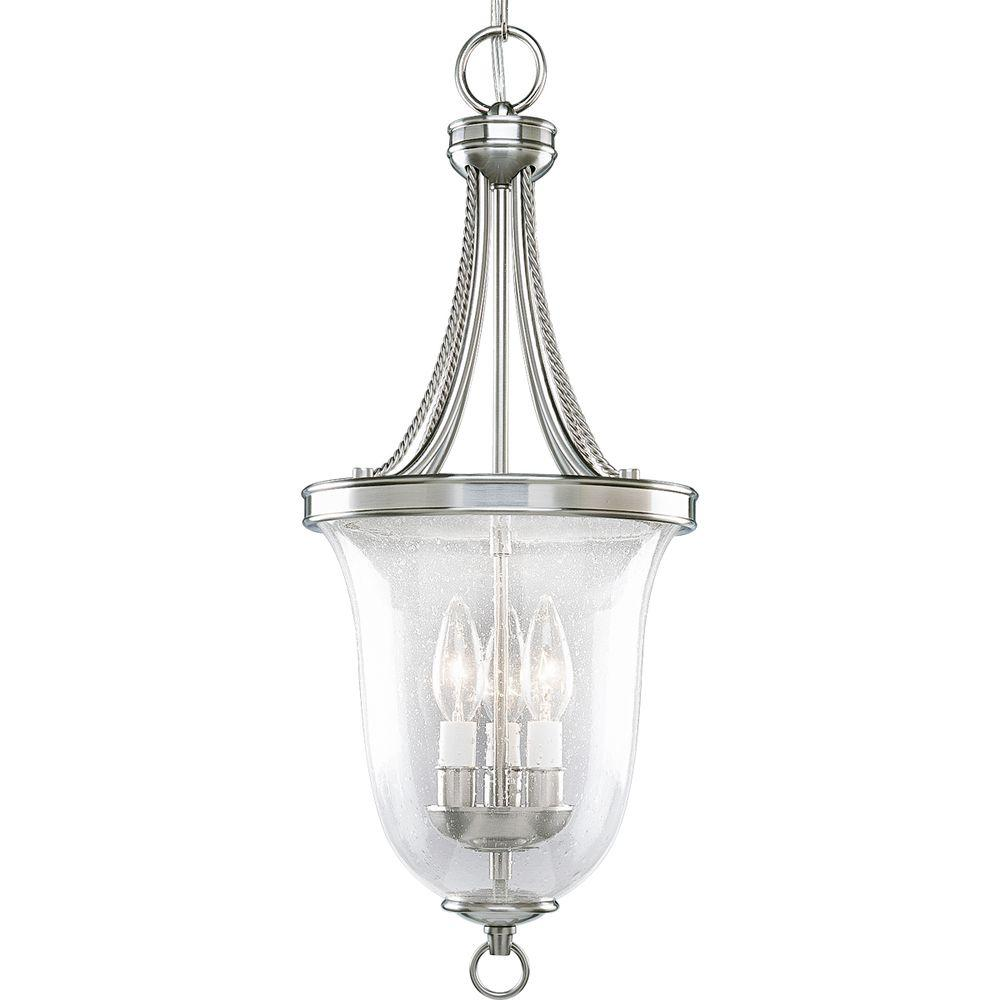 Progress Lighting Seeded Glass Collection 9 75 In 3 Light Brushed Nickel Foyer Pendant With