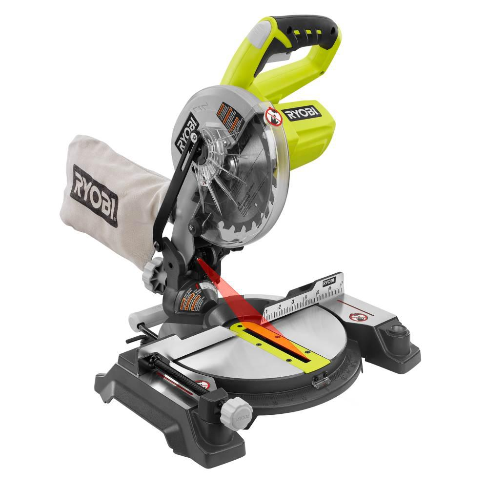 Ryobi 18 volt one 7 14 in miter saw tool only p551 the home depot miter saw tool greentooth Image collections