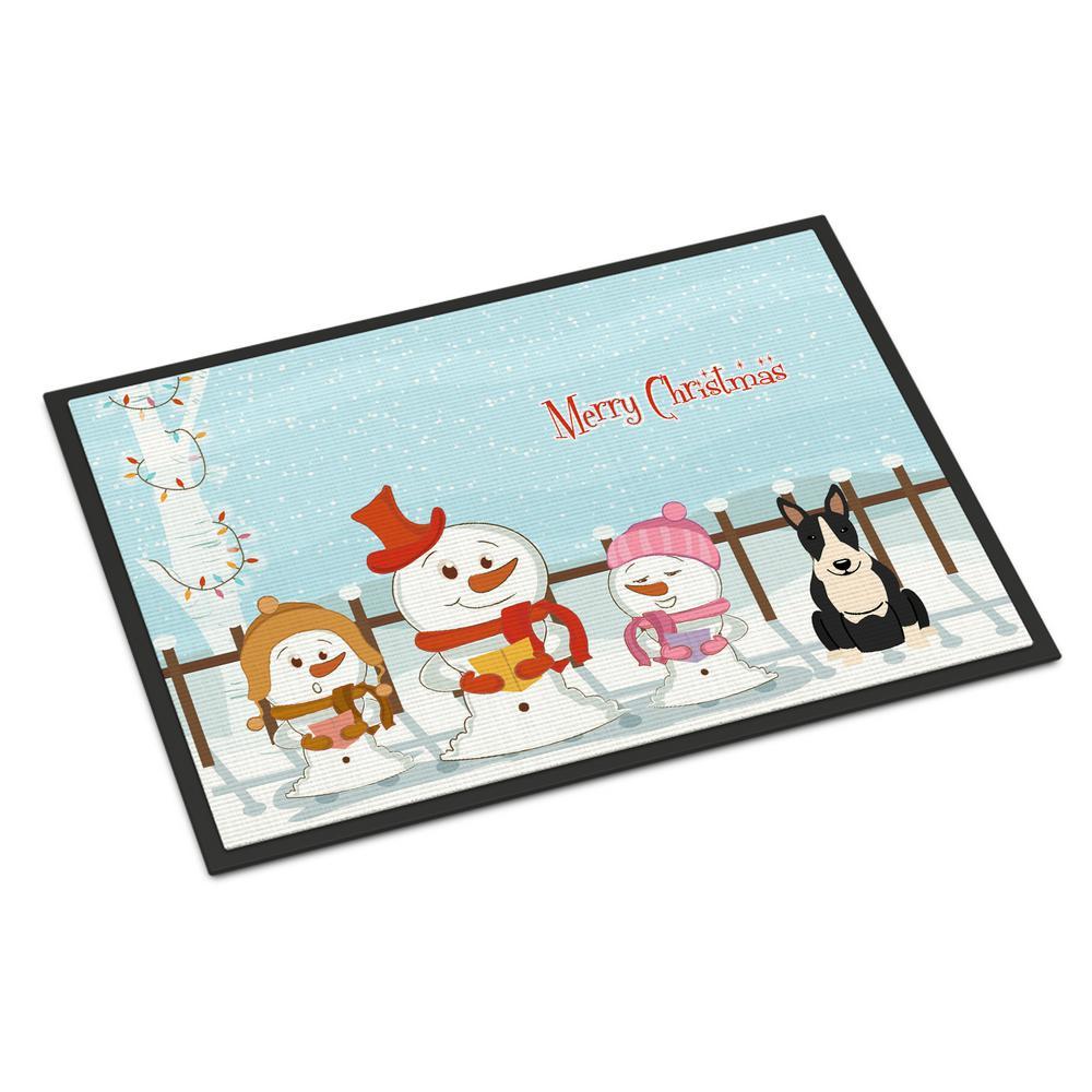 18 in. x 27 in. Indoor/Outdoor Merry Christmas Carolers Bull Terrier Black White Door Mat