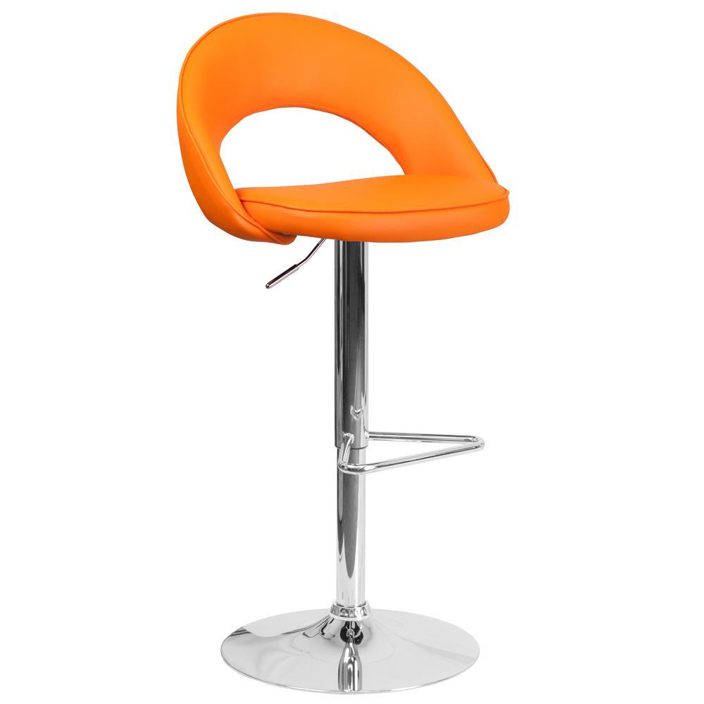 32.50 in. Adjustable Height Orange Cushioned Bar Stool