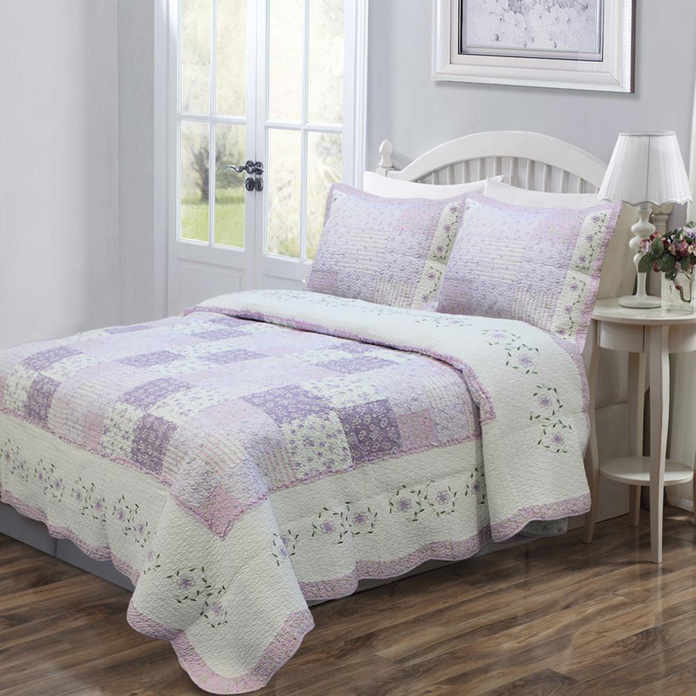 Love of Lilac 3-Piece Lavender Floral Orchid Square Patchwork Ruffle Purple Cotton King Quilt Bedding Set