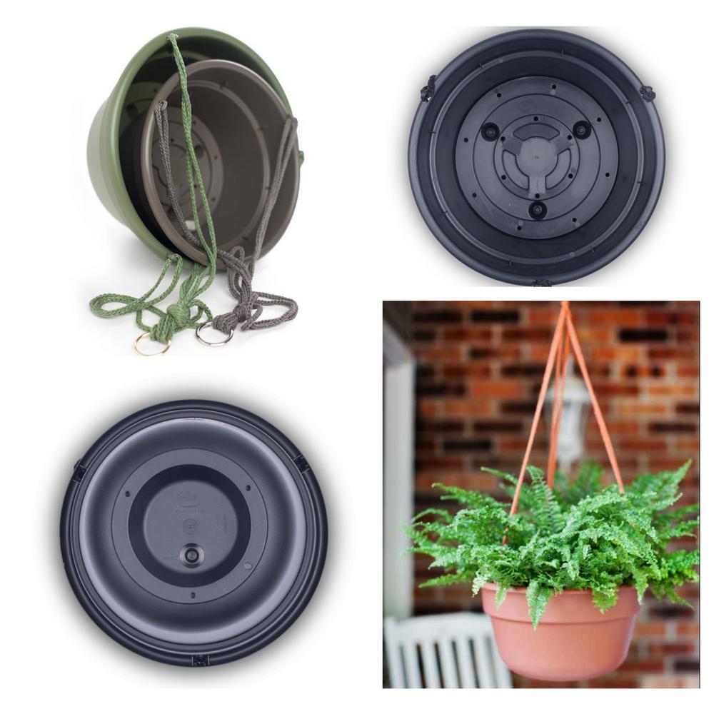 Dura Cotta 12 in. Charcoal Plastic Self Watering Hanging Basket Planter