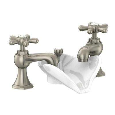 Widespread 2 Handle Low Arc Bathroom Faucet In Brushed