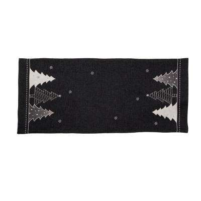 0.1 in. H x 16 in. W x 36 in. D Lovely Christmas Tree Embroidered Double Layer Table Runner in Dark Gray