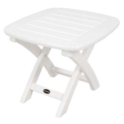 Nautical 21 in. x 18 in. White Plastic Outdoor Patio Side Table