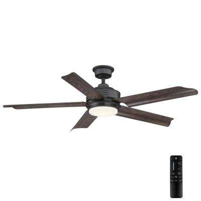 Hansfield 56 in. LED Outdoor Natural Iron Ceiling Fan with Remote Control