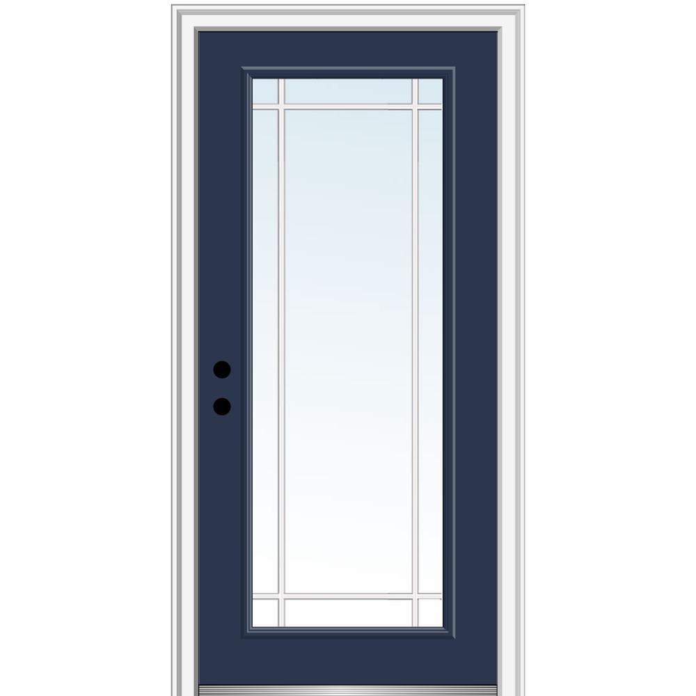 MMI Door 30 in. x 80 in. Prairie Internal Muntins Right-Hand Inswing Full Lite Clear Painted Steel Prehung Front Door