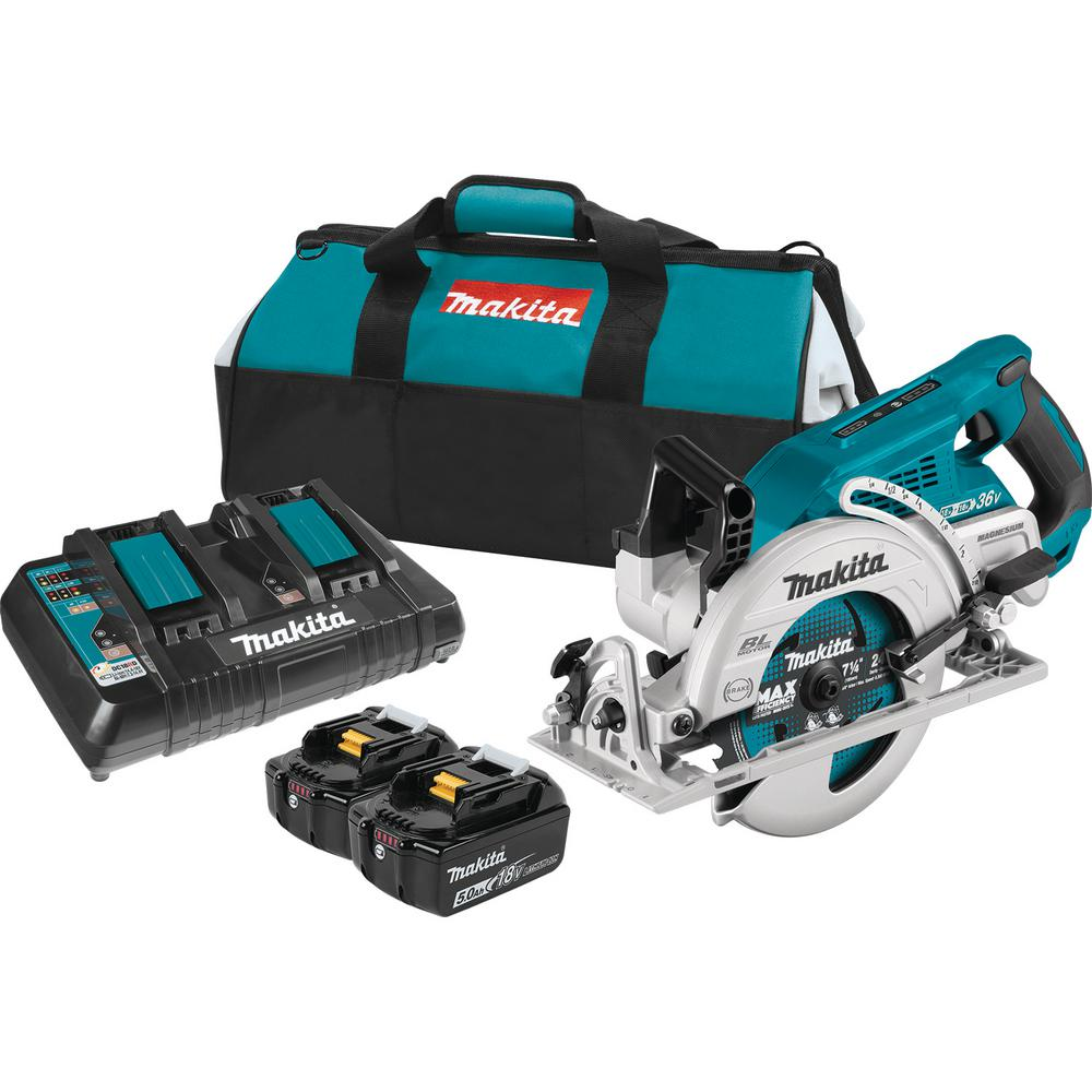 Makita 18-Volt X2 LXT 5.0Ah Lithium-Ion (36-Volt) Brushless Cordless Rear Handle 7-1/4 in. Circular Saw Kit