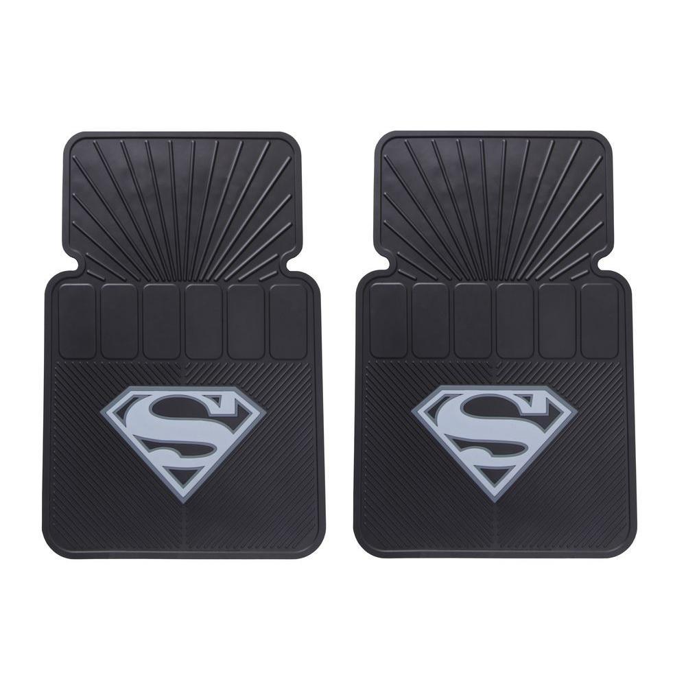 Warner Bros. Superman Silver Logo Heavy Duty 27 in. x 18 in. Vinyl Car Mats (2-Piece)