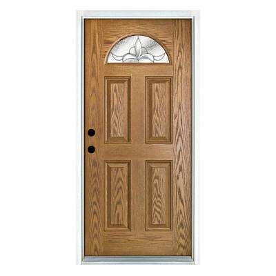 36 in. x 80 in. Andaman Light Oak Right-Hand Inswing Fan Lite Decorative Fiberglass Prehung Front Door