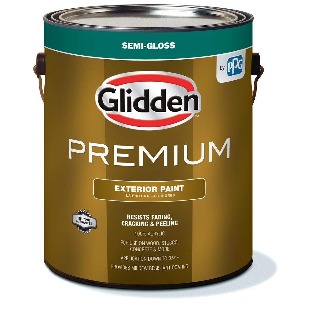 Exterior Paint Colors Home Depot: Glidden Premium 1 Gal. Semi-Gloss Latex Exterior Paint