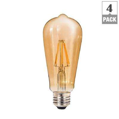 60W Equivalent Amber ST64 Dimmable Shatter-Resistant LED Light Bulb (4-Pack)