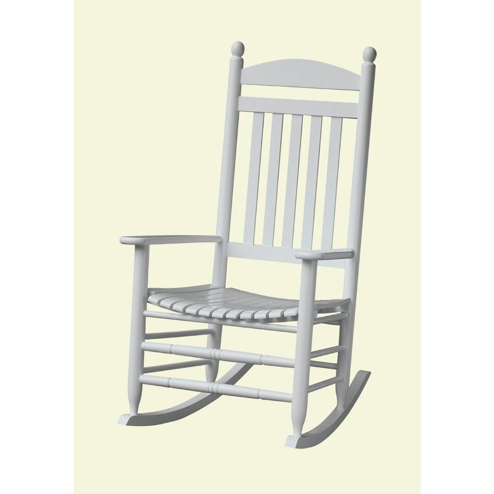 Bradley White Slat Patio Rocking Chair-200SW-RTA - The Home Depot