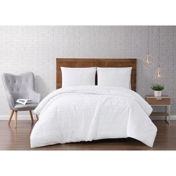Brooklyn Loom Carlisle Stripe 3-Piece White King Duvet Cover Set DCS2985WTK-1800