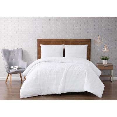 Carlisle Stripe 3-Piece White Full/Queen Duvet Cover Set
