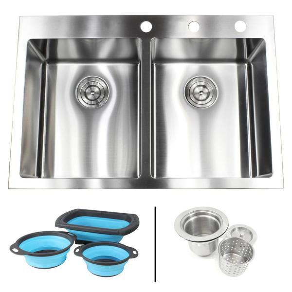 Drop In Top Mount 16 Gauge Stainless Steel 33 In X 22 In X 10 In 60 40 Offset Double Bowl Kitchen Sink Rt3322 6040 The Home Depot