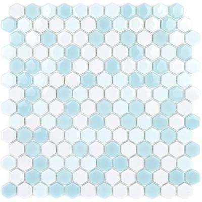 Recoup Hexagon Glacier 11.5 in. x 12 in. x 6 mm Glass Mosaic Floor and Wall Tile