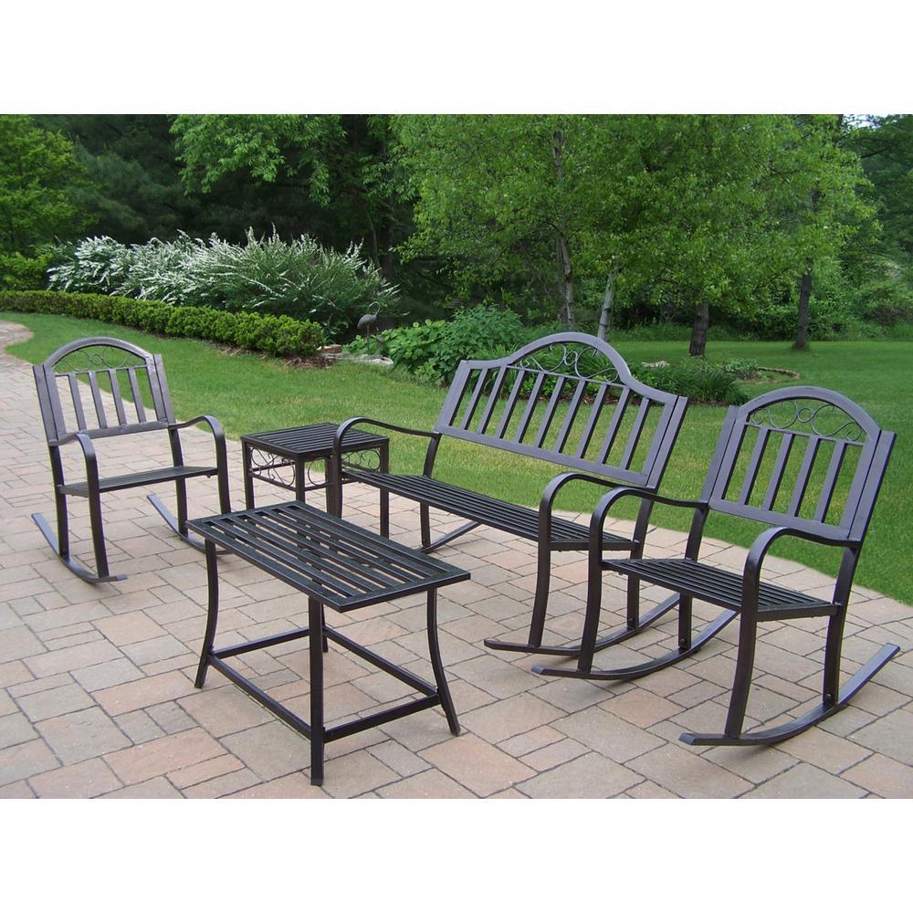 Internet 206805617 rochester 5 piece metal patio conversation set