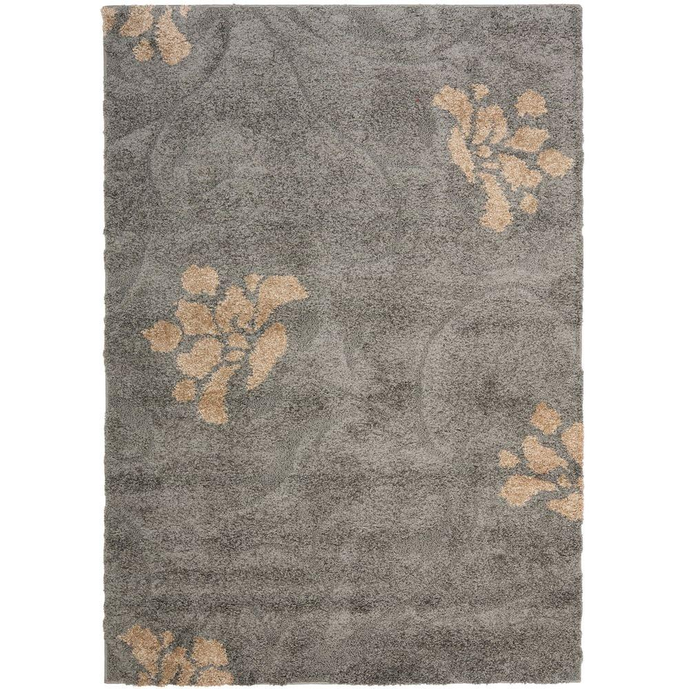 Safavieh Florida Shag Gray/Beige 5 ft. 3 in. x 7 ft. 6 in. Area Rug