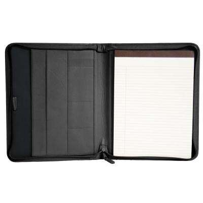 Genuine Leather Executive Convertible Zippered Writing Portfolio Organizer, Black
