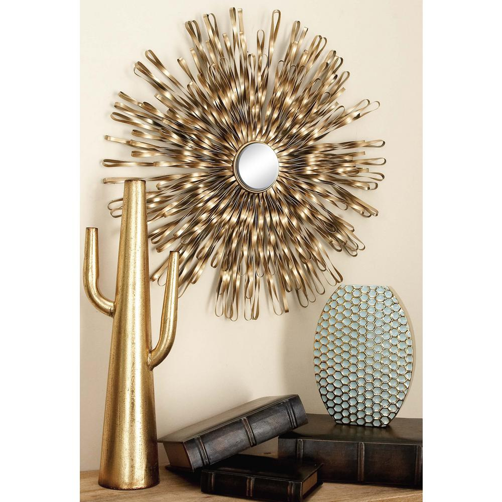 Modern Copper Gold Iron Band and Mirror Wall Decor (Set of ...