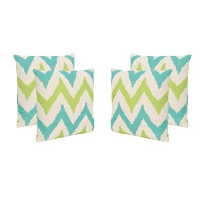 Adriatic Teal and Green Square Outdoor Throw Pillows (Set of 4)
