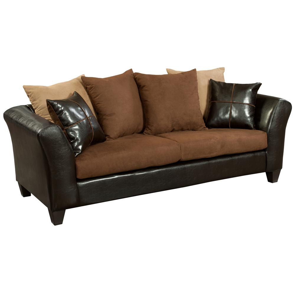 Superieur Flash Furniture Sierra Chocolate Microfiber/Jefferson Chocolate Vinyl  Standard Sofa