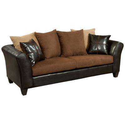 Sierra Chocolate Microfiber/Jefferson Chocolate Vinyl Standard Sofa