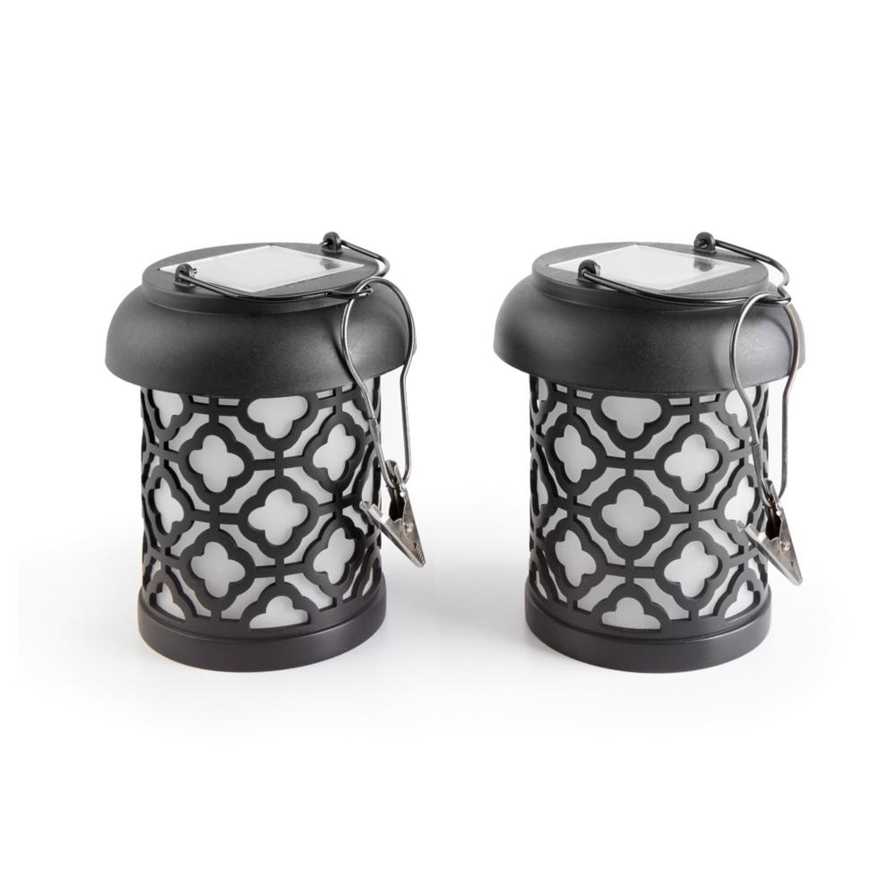 Charming Smart Solar Qautrefoil Black Integrated LED Hanging Solar Lantern (2 Pack)