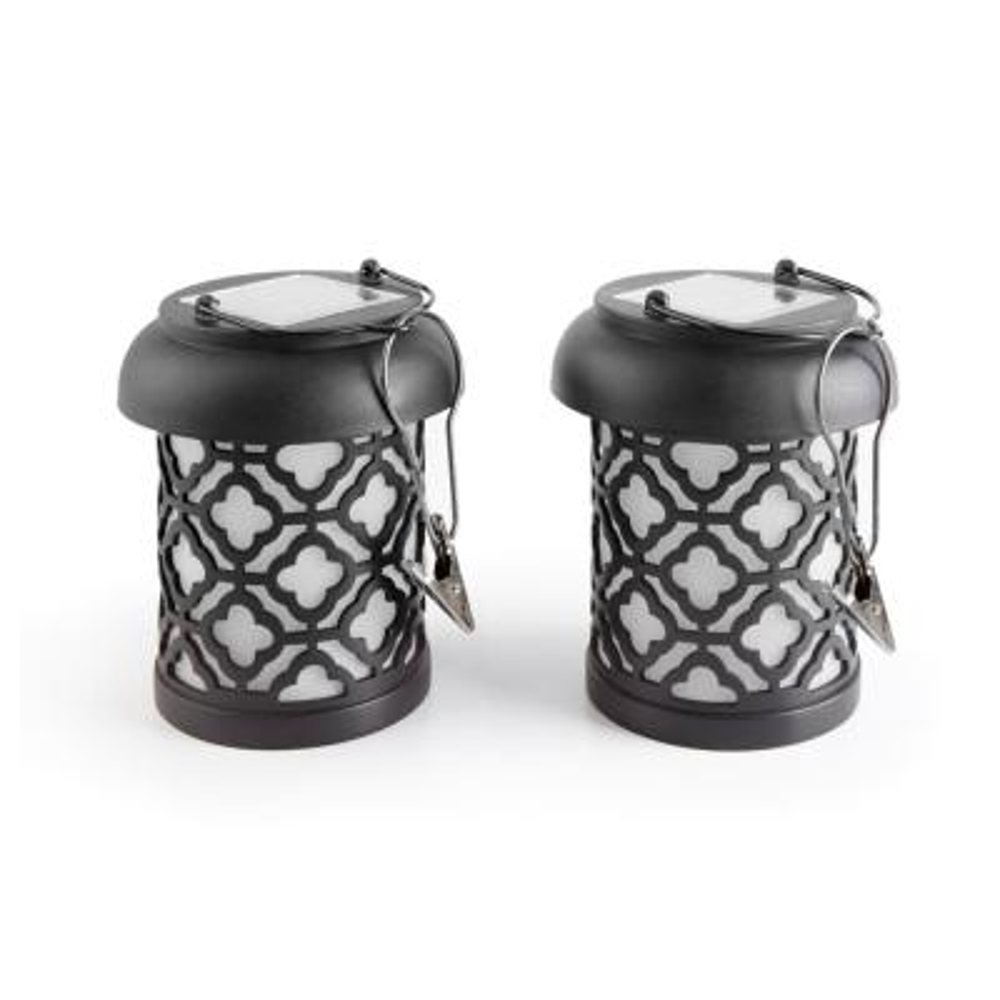 Qautrefoil Black Integrated LED Hanging Solar Lantern (2-Pack)