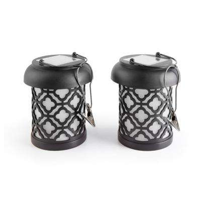Qautrefoil Black Integrated LED Hanging Solar Lantern (2-Pack)