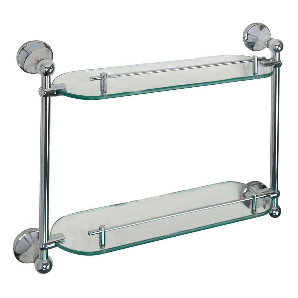 Barclay Products Kendall 19-1/4 in. W Double Shelf in Glass and Polished Chrome