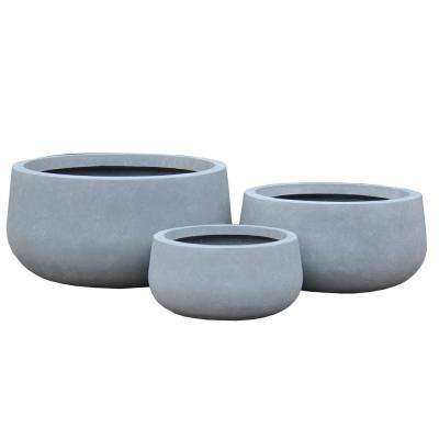 Lightweight Concrete Modern Low Bowl Charcoal Planter (Set of 3)