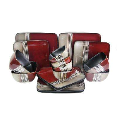 Downtown Loft 16-Piece Red Double Bowl Dinnerware Set