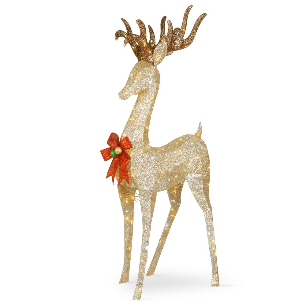 National Tree Company 74 In Coiling Champagne Standing Buck With
