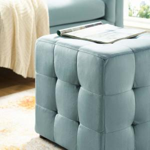 Magnificent Modway Contour Light Blue Tufted Button Cube Performance Gmtry Best Dining Table And Chair Ideas Images Gmtryco