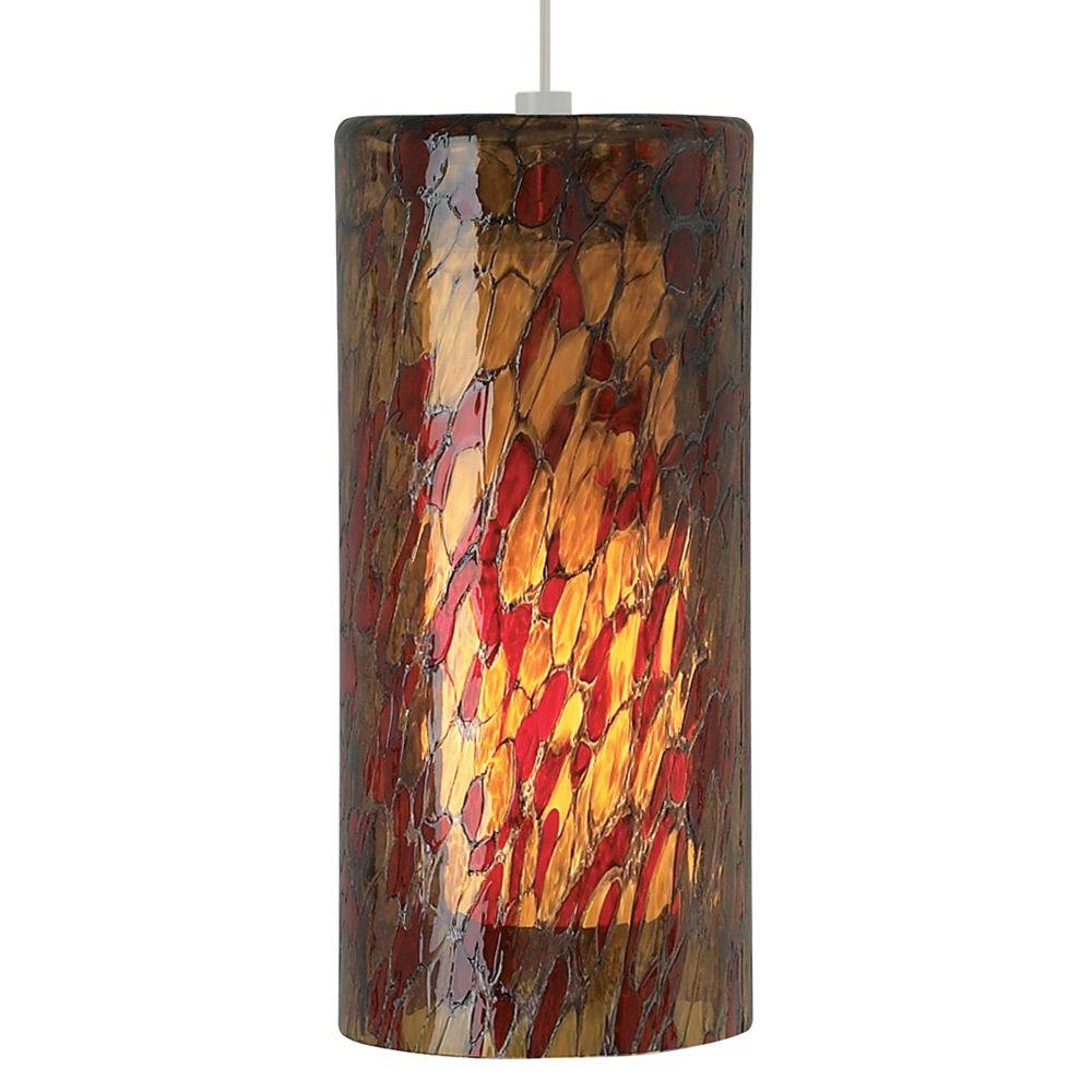 LBL Lighting Abbey Grande 1-Light Satin Nickel Incandescent Pendant with Amber-Red Shade