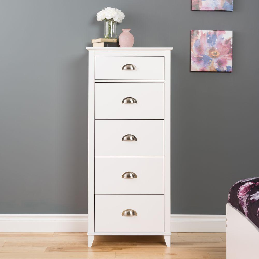 Prepac Yaletown 5 Drawer White Chest