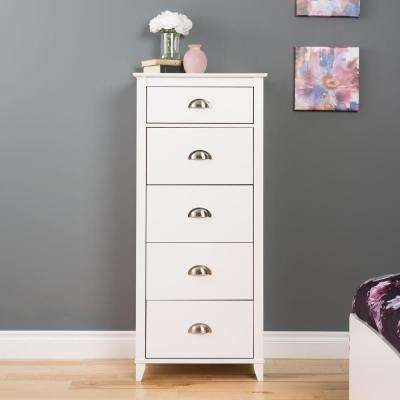 Yaletown 5-Drawer White Chest