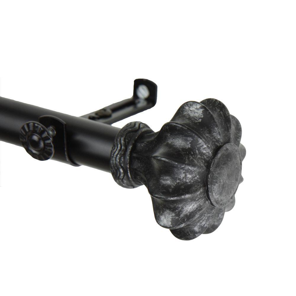Rod Desyne 48 in. - 84 in. Telescoping Curtain Rod Kit in Black with Flair Finial