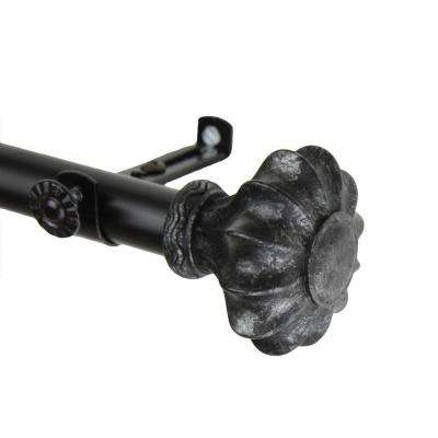 120 in. - 170 in. Telescoping Curtain Rod Kit in Black with Flair Finial