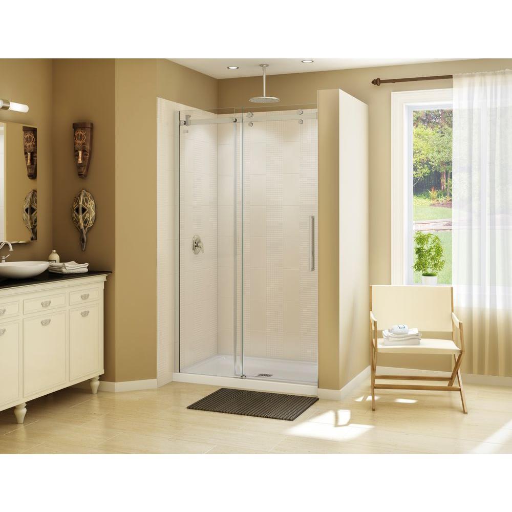 Halo 47 in. x 79 in. Semi-Frameless Sliding Shower Door in Brushed Nickel