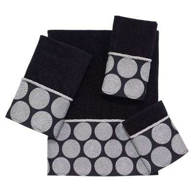 Dotted Circles 4-Piece Bath Towel Set in Black