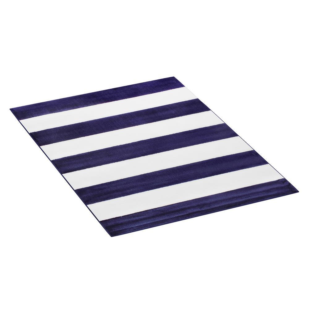 Navy Blue and Ivory 8 ft. x 10 ft. Breton Stripe Plush Area Rug