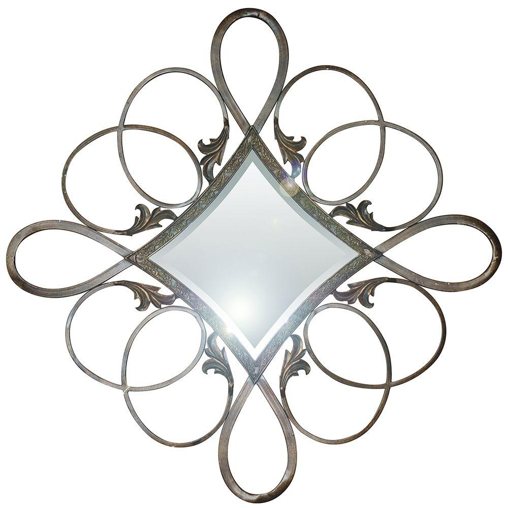 Yosemite Home Decor 33 in. x 33 in. Crystal-Shaped Iron Decorative Rustic Gold Framed Mirror