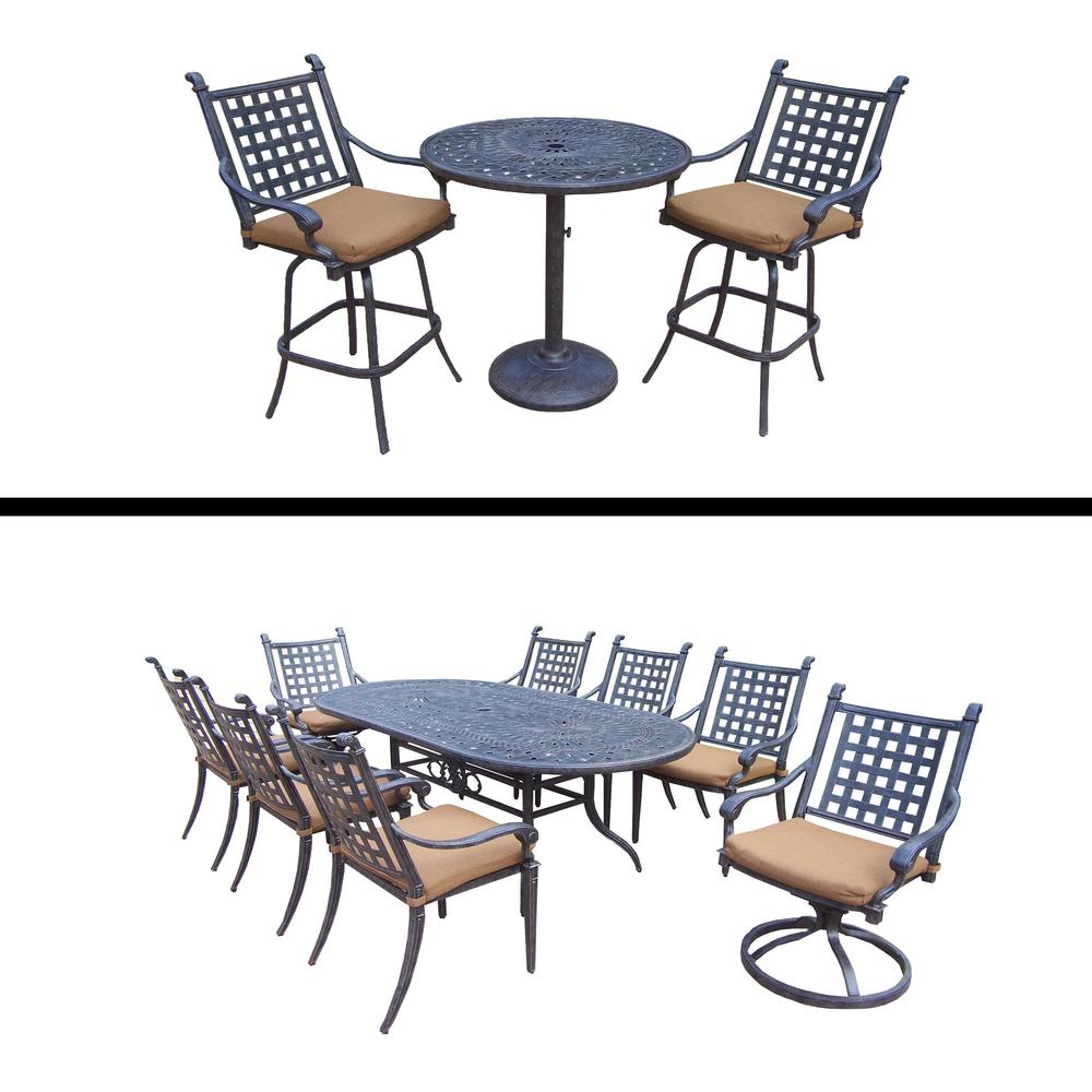 Superior Belmont 12 Piece Aluminum Outdoor Dining Set With Sunbrella Brown Cushions